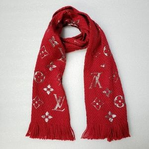 Red Lv Logo Logomania Lurex Shine Wool Scarf/Wrap